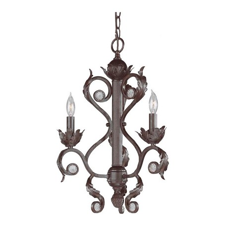 Crystorama Dark Rust Winslow 3 Light 16in. Wide Wrought Iron Candle Style Mini Chandelier