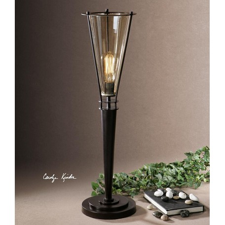 Uttermost Black Metal And Cognac Glass Frisco Accent Lamp With Cone Shade