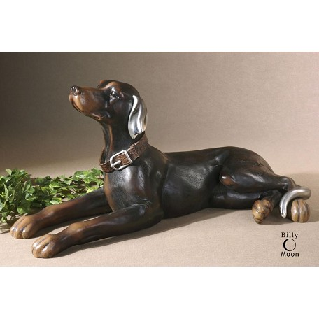 Uttermost Resting Dog Statue 28.375In. Long With Silver Plated Accents