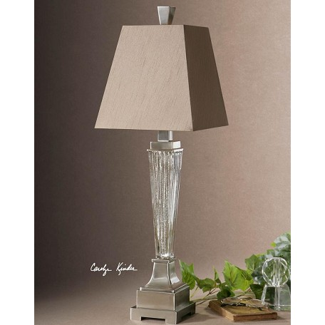 Uttermost Ribbed Mercury Glass Canino Mercury Glass Pillar Table Lamp