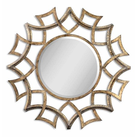 Uttermost Demarco Round Beveled Mirror With Geometric  Sunburst Frame