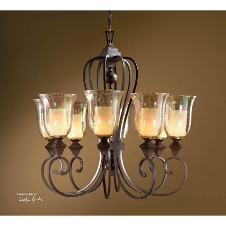 Uttermost Distressed Spice 8 Light Single Tier Chandelier From The Elba Collection