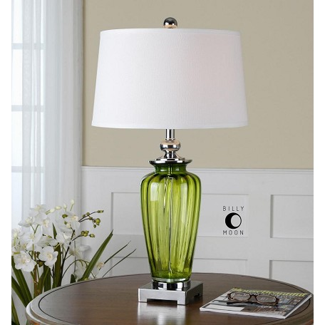 Uttermost Green Glass And Nickel Amedeo Table Lamp With Round Shade