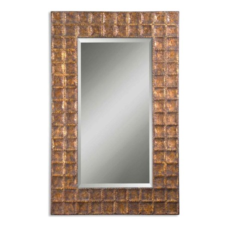 Uttermost Brown Glaze Gavino Beveled Mirror With Grid Hammered Metal Frame