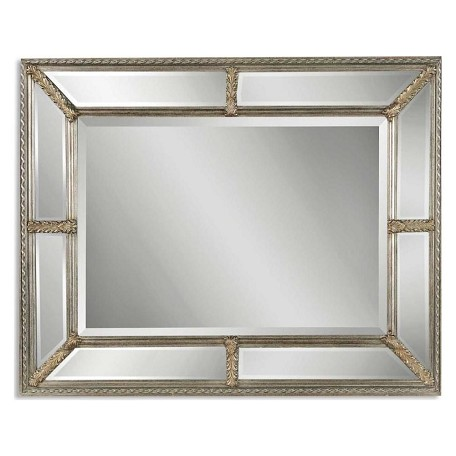 Uttermost B Antiqued Silver Leaf Lucinda Mirror With Beveled Mirror Frame