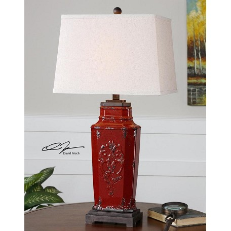 Uttermost Deep Red With Rust Brown Centralia 1 Light Table Lamp