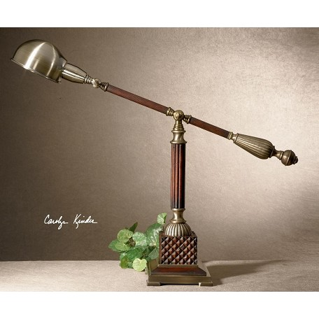 Uttermost Burnished Wood Tone With Aged Bronze Metal Detail Dalton Desk Lamp