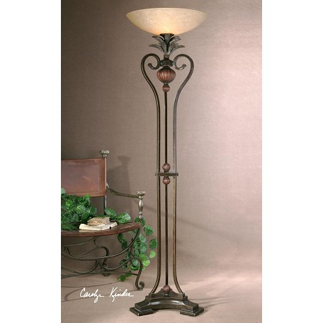 Uttermost Golden Bronze Metal With Antique Wood Tone Details Andra Torchier Lamp