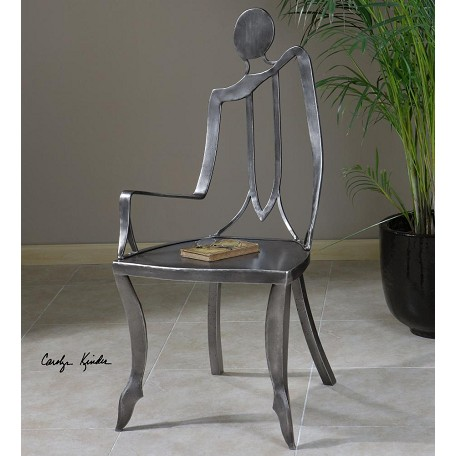 Uttermost Raw Steel Lena Metal Accent Chair