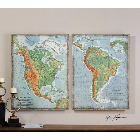 Uttermost Print Over Woven Burlap The Americas 32In.W X 42In.H Paintings - Set Of 2