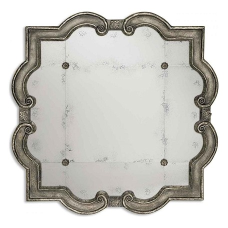 Uttermost P Distressed Silver Leaf Over Black Prisca Small Etched Mirror With Ornate Frame