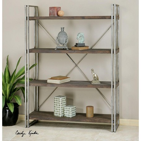 Uttermost Silver Greeley 49.5In.W X 14.25In.D 4 Shelf Shelving Unit
