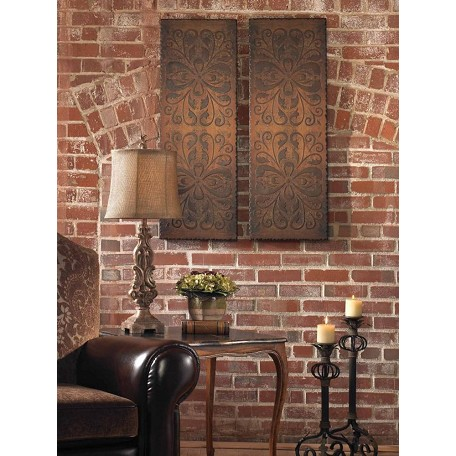 Uttermost Rust Brown Alexia Panels Set Of 2 Wall Art