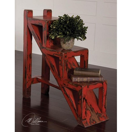 Uttermost Red, Black Asher Stair-Step Accent Table