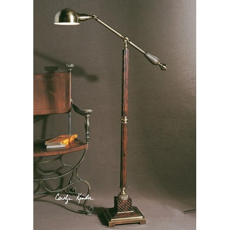 Uttermost Mahogany Wood Tone With Antique Bronze Metal Detail Dalton Floor Lamp
