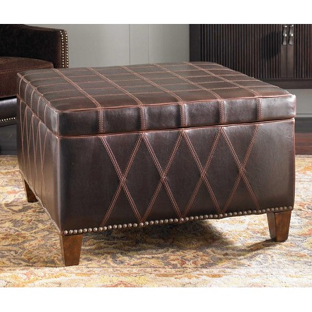 Uttermost Sable Brown Wattley Storage Ottoman With Double Stitching Detail