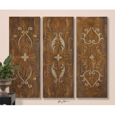 Uttermost Brown, Cream, Tan Elegant Swirl Set Of 3 Hand Painted Canvas Art Panels