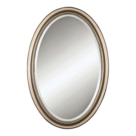 Uttermost B Champagne Silver Petite Manhattan Oval Beveled Mirror