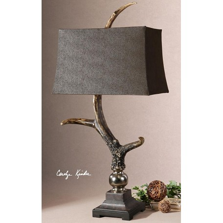 Uttermost Crackled Wood Tone Base And Cast Aluminum Accents Table Lamp