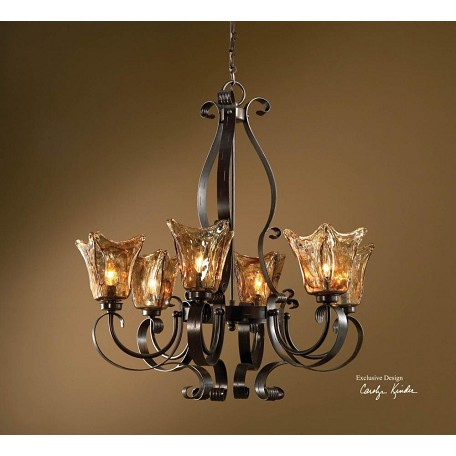 Uttermost Oil Rubbed Bronze Vetraio 6 Light 1 Tier Chandelier With Handmade Glass Shades