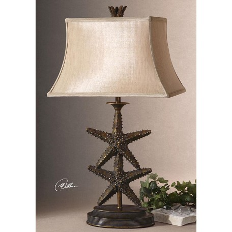 Uttermost Antique Gold / Dark Gray Wash Starfish Design Table Lamp