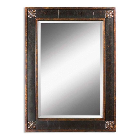 Uttermost B Chestnut Brown Bergamo Vanity Mirror With Distressed Finish Frame