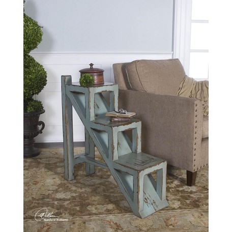 Uttermost Sea Glass Blue With Honey Stain Asher Weathered Step Accent Table