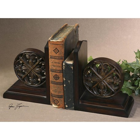 Uttermost Distressed Chestnut Brown Chakra Bookends Set Of 2