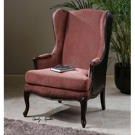 Uttermost Wood And Chenille Skipton Faux Leather Chair