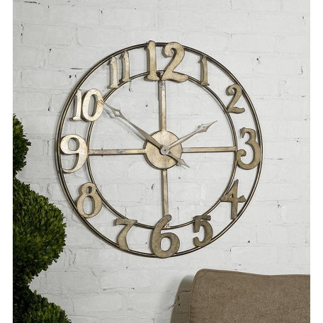 Uttermost Antiqued Silver Leaf Clock With Burnished Edges