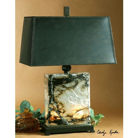 Uttermost Black, Brown And Ivory Marble With Bronze Metal Details Marius Table Lamp