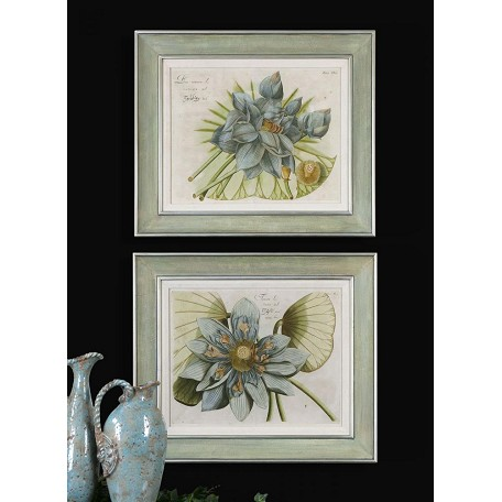 Uttermost Artwork Reproduction Blue Lotus Flower I Ii Set Of 2 Wall Art