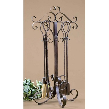 Uttermost  Hand Forged Metal Fireplace Tools Set Of 5