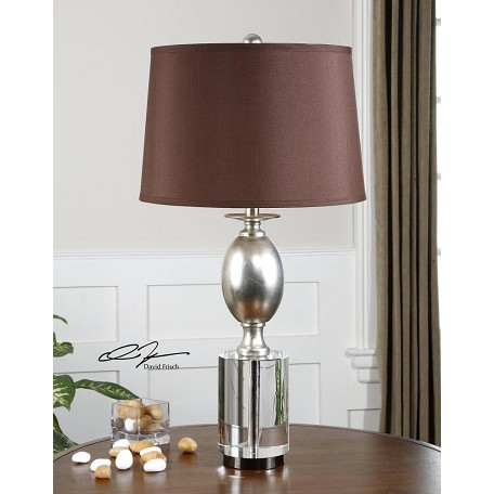Uttermost Antiqued Silver Leaf With Chunky Crystal Almira 1 Light Table Lamp