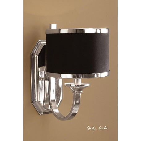 Uttermost Silver Plated Single Light Wall Sconce From The Tuxedo Collection