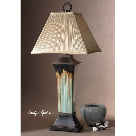 Uttermost Antiqued Dark Brown Metal Details Olinda Table Lamp