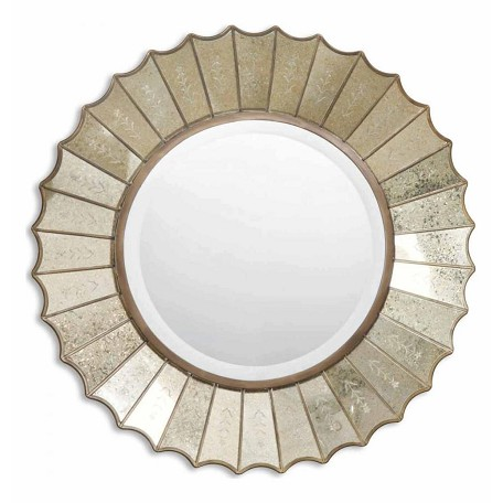Uttermost B Antiqued Gold Amberlyn Round Beveled Mirror With Fan Edged Frame