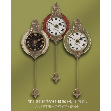 Uttermost Wall Clock Set/3 Weathered Laminated Clock Face Brass Details