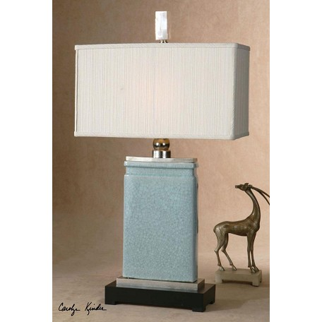 Uttermost Light Blue Crackled Porcelain With Nickel Plated Accents Azure Table Lamp
