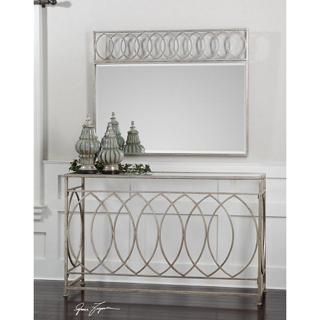Uttermost Antiqued Silver Leaf Iron Aniya Glass Top Console Table