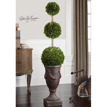 Uttermost Green / Ancient Bronze Preserved Boxwood Triple Topiary