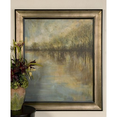 Uttermost Blue, Tan, Brown Winter Glow Framed Art Print