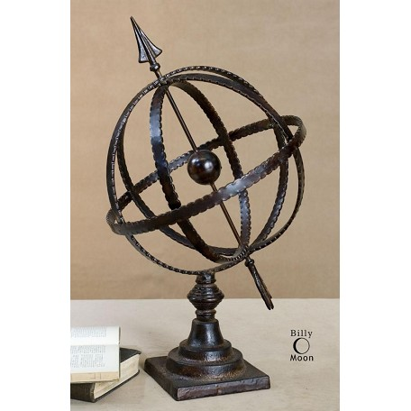 Uttermost Antique Brown Diez Metal Globe On Stand