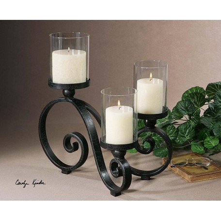 Uttermost Black Crackle Arla Candle Holder