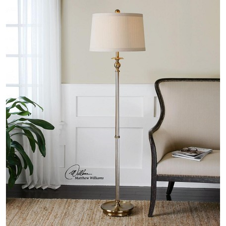 Uttermost Amber Glass And Brass Vairano Floor Lamp With Round Shade