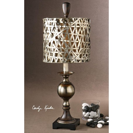 Uttermost Antiqued Silver Cast Aluminum Base Alita Champagne Buffet Lamp