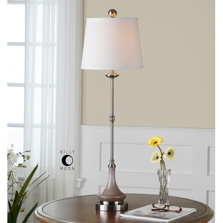 Uttermost Gray Glass And Brushed Aluminum Kerman Buffet Lamp With Round Shade