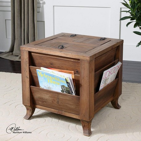 Uttermost Reclaimed Fir Rimmon Wooden Side Table With Magazine Storage