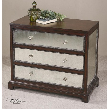 Uttermost Espresso Accent Chest With Mirrored Drawers From The Jayne Collection