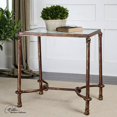 Uttermost Forged Iron Warring Iron Bridle Base End Table